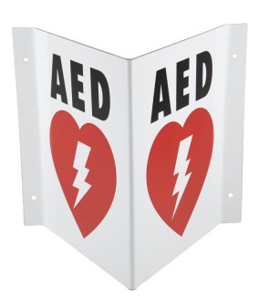 "Triangular AED Sign, 6.5"" x 7.75"""