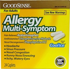 Economy Allergy Multi-Symptom Caplets, 24/Box