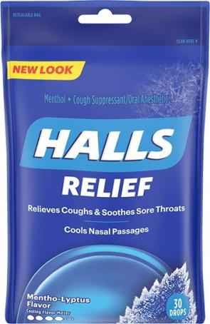 Halls Cough Drops, Menthol 30/Bag