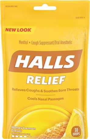 Halls Cough Drops, Honey Lemon 30/Bag