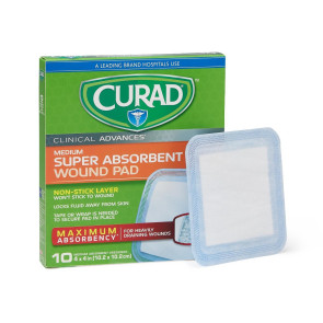 "Curad Ultrasorb 4"" x 4"" Wound Dressing, 10/Box"
