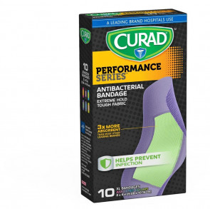Curad Performance Series Anti-Bacterial XL Bandages, 10/Box