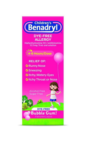 Children's Benadryl Dye-Free 4 oz. Liquid, Bubblegum Flavor
