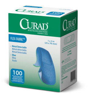 "Curad Food Service 1"" x 3"" Flexible Fabric Bandages, 100/Box"