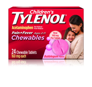 Children's Tylenol Chewables, 160 MG, 24/Box, Bubblegum