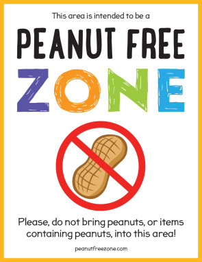 "Peanut Free Zone Poster, 8-1/2"" X 11"" Poster"