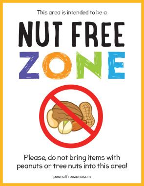 "Nut Free Zone Poster, 8-1/2"" X 11"""
