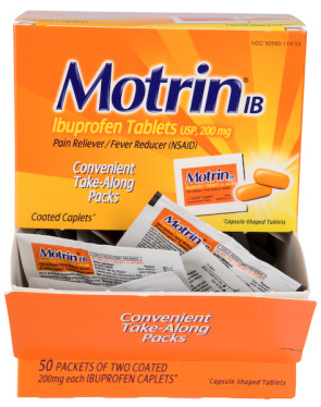 Motrin IB Tablets 200 mg, 50 Packs of 2 per Box