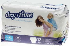 DryTime Disposable Protective Youth Underwear, LG/XL, 12/Bag