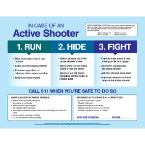 """In Case of an Active Shooter Poster, Laminated, 17"""" x 22"""""""