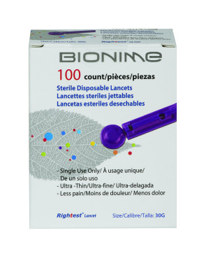 Bionime Lancets for #19145, 100 per Box