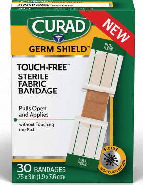 "Curad Germ Shield Fabric Bandage 3/4""x3"", 30/box"