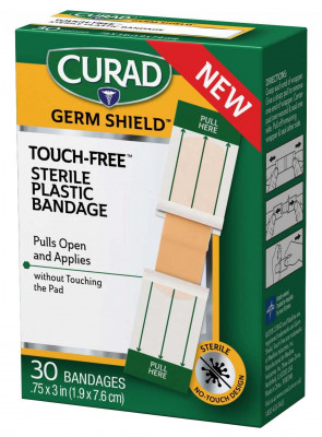 """Curad Germ Shield Touch-Free Sterile Plastic Bandage 3/4""""x3"""""""