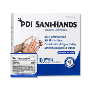 Sani-Hands ALC Antimicrobial Alcohol Gel Hand Wipes, 100/Box