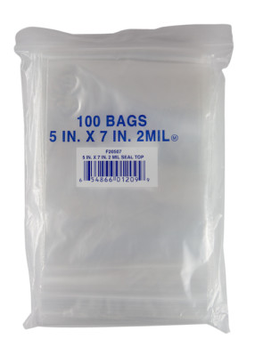 "Economy Storage Bags, 5"" x 7"", Zipper Seal, 2 ml (100/Pkg)"