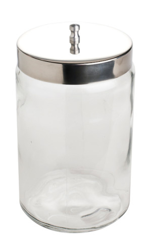 "7"" x 4"" Unlabeled Glass Utility Jar with Stainless Steel Lid"