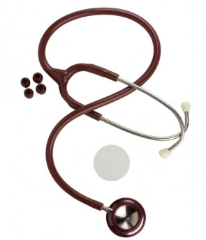 Stainless Steel Dual Head Stethoscope, Burgundy