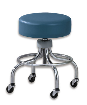 "Chrome Base Space Blue Stool w/o Backrest (18""-24"")"