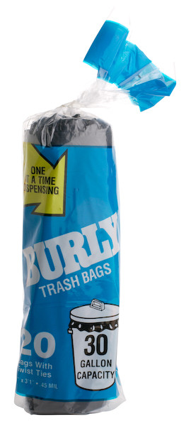 Trash Bags, 30 Gallon, 25 Bags/Roll