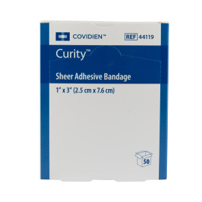 """Covidien Curity® 1"""" x 3"""" Sheer Bandages, 50/Box"""