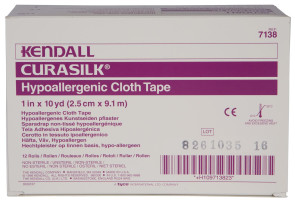 "Kendall 1"" x 10 Yds Curasilk Tape, 12/Box"