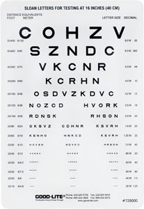 Good-Lite® Plastic Near Vision Card, Sloan Letters