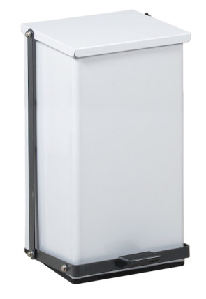 8 Gallon Premium Square Step-On Can, White