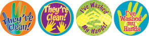 Hand Washing Stickers, 4 Designs, 200/Roll