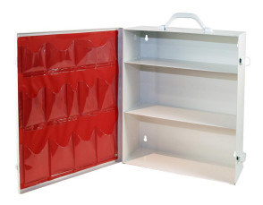 Empty 3-Shelf Metal First Aid Cabinet