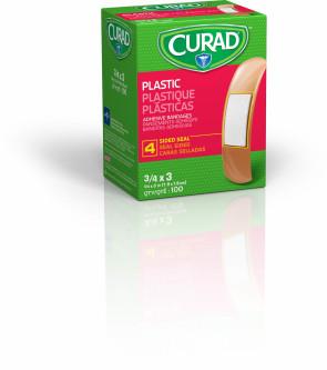 """3/4"""" x 3"""" Curad Plastic Bandages 100/Box"""