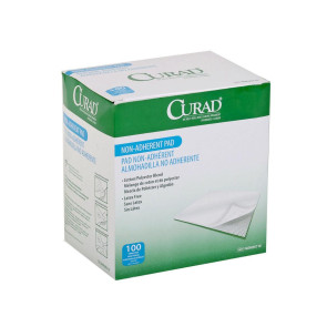 "Curad Sterile 3"" x 4"" Non-Adherent Pads, 100/Box"
